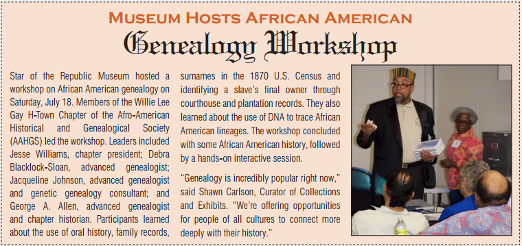 Willie Lee Gay H-Town Chapter of the Afro-American Historical and Genealogical Society Genealogy Workshop